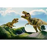 YongFoto 2,2x1,5m Vinile Dinosauro fondali fotografici Periodo giurassico Due dinosauri T-Rex Hills Natura selvaggia Sfondo foto Studio fotografico Fondale foto Decorazione del Partito
