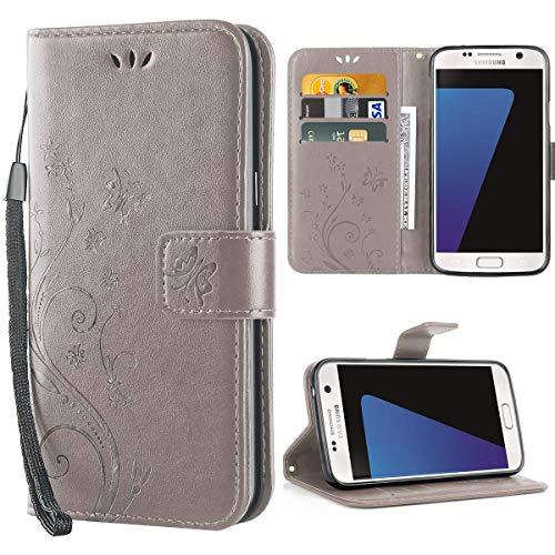 Cover Samsung Galaxy S7, Retro Farfalla Fiore Modello Stampata Design Custodia in Pelle Protettiva Cuoio Portafoglio Flip Cover per Samsung Galaxy S7 - Grigio