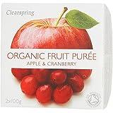Clearspring Apple y Cranberry Puré de 2 x 100g
