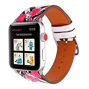 Flower Design Strap for iWatch 38mm, Floral Pattern Printed Leather Wristband Apple iPhone Watch Bracelet for Apple Smartwatch Series 3 Series 2 Series 1 (Arrow Stripe with Flower-42mm)