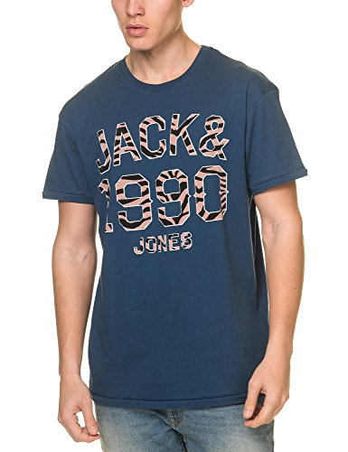 JACK & JONES Herren T-Shirt Jorpat Tee Ss Crew Neck Denim