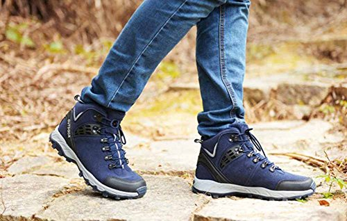 Uomini Scarpe Da Trekking Outdoor Autunno Inverno Foderato Di Pelliccia Scarpe Da Viaggio Alte E Alte Scarpe In Cotone Di Grandi Dimensioni Blue
