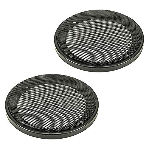 tomzz Audio 2800-001 Lautsprecher Gitter Grill für 130mm DIN Lautsprecher, schwarz, 2-teilig Kunststoffring mit Metallgitter, Satz