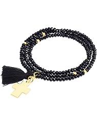 Rafaela Donata - Bracelet fashion croix cristal de verre - En différentes longueurs, bracelet cristal de verre - 60917014