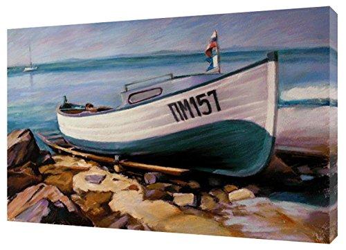 Tela incorniciata in legno con disegno di barca a vogatore sulla spiaggia con pastelli morbidi, 30 x 20 inch -18mm depth