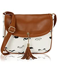 KLEIO Women's Canvas Tassel Sling Bag (White)