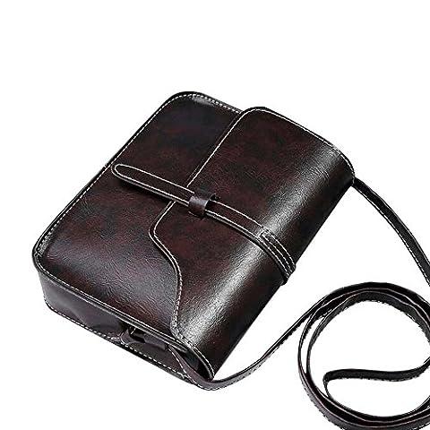 Sacs Bandoulière Femme,Manadlian Sac à main vintage sac à bandoulière en cuir (Noir)