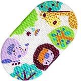 Alfombra de baño, Domowin alfombra para bañera antideslizante con Ventosas de Succión para Cuarto de Baño 69× 38 CM (Zoo)