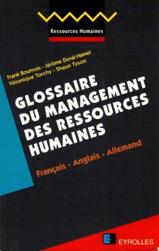 Glossaire du management des ressources humaines : Français, anglais, allemand
