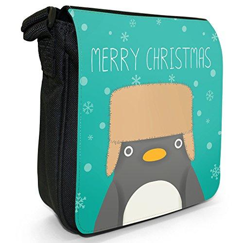 Merry Christmas Schneeflocken Kleine Schultertasche aus schwarzem Canvas Pinguin mit Uschanka-Mütze