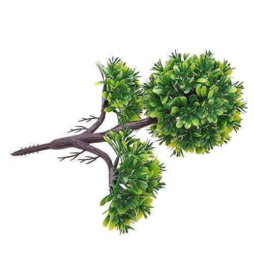 Kompassswc künstlicher bonsaibaum Kunstbonsai Kunstpflanzen MIT Töpfchen Zimmer Party Dekor Kunstbäume Topfpflanzen 26cm Höhe (Grün) - 4