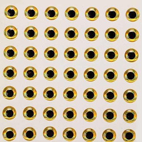 TENGGO Fliege von 7mm 100Pcs Stück Binden durch Augen Sticker Autas 3d-Tools Fischerei Köder gold