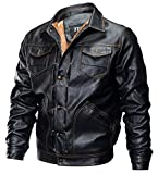 YYZYY Homme Rétro Classique Automne Hiver Manteaux En Cuir Veste Chaud Épais Manteaux Biker Moto Blousons Épais Toison Interne Mens PU Leather Jackets (FR X-Large, Noir)