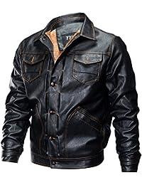 YYZYY Homme Rétro Classique Automne Hiver Manteaux En Cuir Veste Chaud Épais Manteaux Biker Moto Blousons Épais Toison Interne Mens PU Leather Jackets