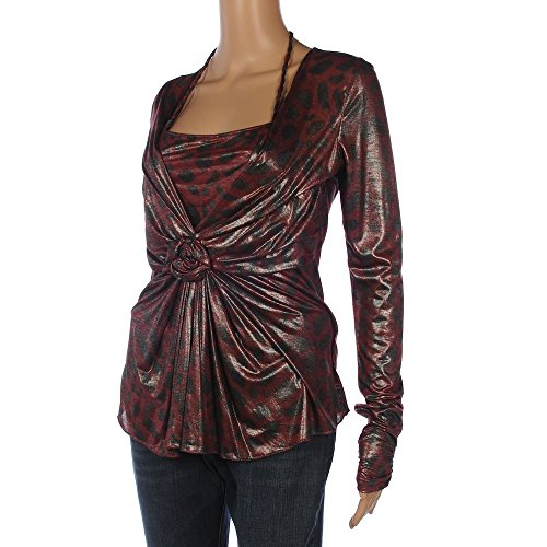 ROBERTA SCARPA Top Shiny Black & Red Pattern Size 40 / UK 8 RRP £245 FX 928