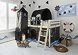 Letto a soppalco per bambini ad altezza media con scivolo, tema covo dei pirati, con tenda, tunnel, torre e contenitore per oggetti, prodotto da Noa & Nani Whitewash