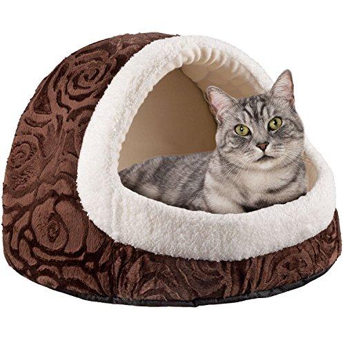 Goods & Gadgets Premium Katzenhöhle aus Plüsch Kuschel-Höhle für Katzen und Hunde Katzen-Haus XXL
