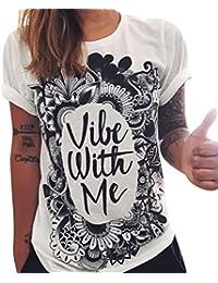 9b63aee467d8 Zhiyuanan Donna Elegante Punk Rock Maglietta Stampa T-Shirt Top Camicetta  Tee