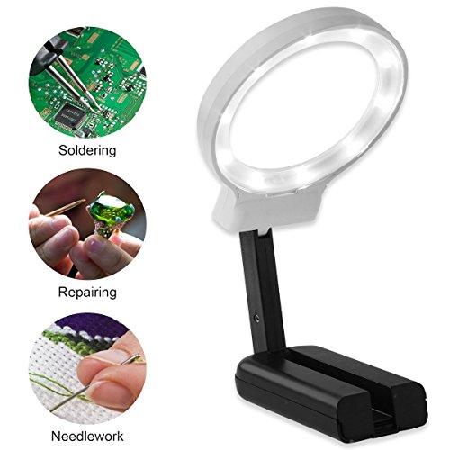 Lupe mit licht, TKSTAR Leselupe 3X Lupe Tragbare Faltbare Linse mit Klappständer Stehpultlampe Magnifying Glass mit LED-Leuchten für das Lesen Craft Jewelry Watch Repair Magnify Coin Notes Hobby-lupe Mit Licht