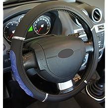 """'Excelente calidad,' universal Volante cromo negro azul para coche anti tobogán diámetro 37–39cm + 1Adhesivo de PC """"rodillos coche Europa gratis"""