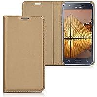 kwmobile Funda para Samsung Galaxy J5 (2015) - Flip cover Case para móvil en cuero sintético - Estilo libro plegable dorado