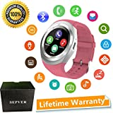 Montre Connectée Sepver Smart Watch Sn05 ronde Smartwatch podomètre tracker de fitness avec emplacement pour carte SIM TF notifications d'appel pour iOS Android Samsung Huawei Sony LG HTC Google Homme Femme Enfants (Rose)