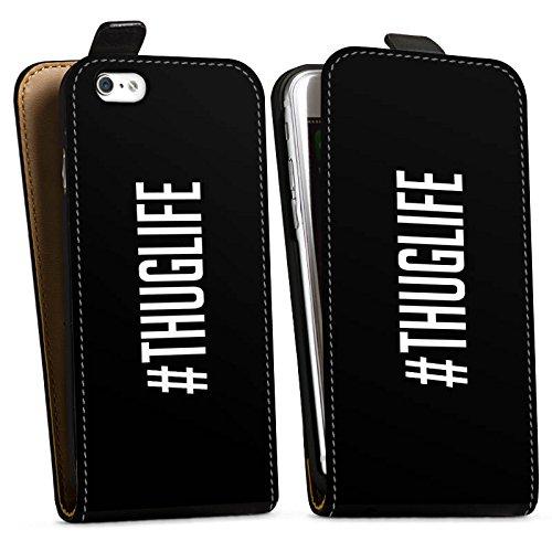 Apple iPhone X Silikon Hülle Case Schutzhülle Thuglife 2Pac Tupac Shakur Hashtag Downflip Tasche schwarz