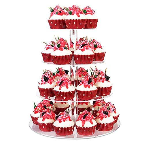 Cupcake Ständer, Kuchenständer 4-Stufig Acryl Halten sie Cupcakes Desserts für Nachmittagstee Party Baby Duschen Hochzeiten (Runde)