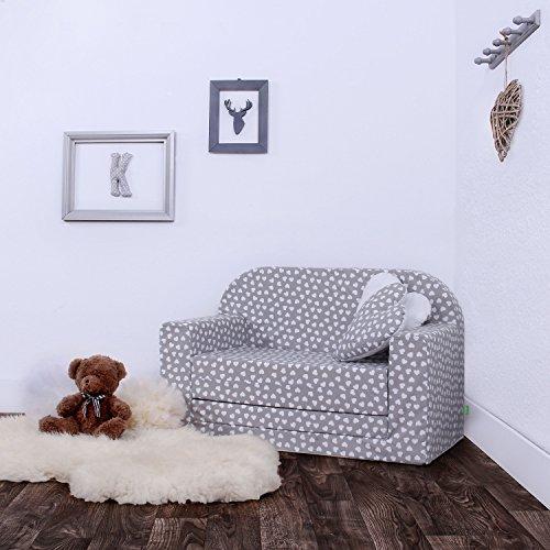 LULANDO Classic Kindersofa Kindercouch Kindersessel Sofa Bettfunktion Kindermöbel zum Schlafen und Spielen, Farbe:  Herzchen grau