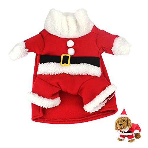 Idepet New Santa Hunde Kostüm Weihnachten Pet Kleidung Winter Hoodie Mantel Kleidung für Hund Haustier Kleidung Chihuahua Yorkshire Pudel, M, Santa Costume Suit