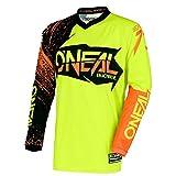 O'Neal Element Burnout MX Motocross Jersey Trikot Shirt Enduro Offroad Motorrad Cross Erwachsene, 0008, Farbe Hi-Viz Gelb Orange, Größe XL
