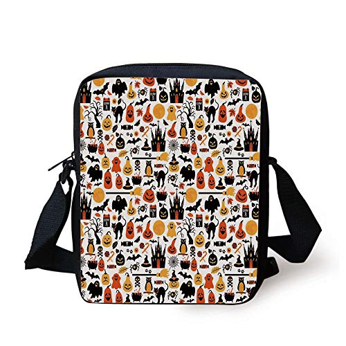 loween Icons Collection Candies Owls Castles Ghosts October 31 Theme Decorative,Orange Yellow Black Print Kids Crossbody Messenger Bag Purse ()