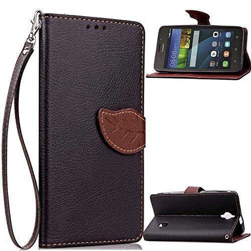 YHUISEN Huawei Y635 Case, Natur Blatt Magnetverschluss Stil PU Leder Brieftasche Flip Case Cover für Huawei Ascend Y635 ( Color : Rose ) Black