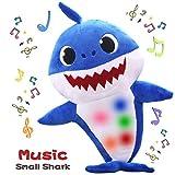 Th-some Baby Shark Jouets en Peluche Jouets en Chantant Animé Poupées Bébé Requin Peluche Chant Jouet Cadeaux pour Enfants (Bleu)