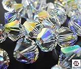 Perles en cristal SWAROVSKI ELEMENTS, #5328 bicone, 4 mm, 50 pièces, cristal AB