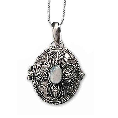 DarkDragon Anhänger Medaillon zum öffnen oval Regenbogenmondstein aus 925er Silber Schmuck mit Kette Halskette Silberkette 116