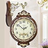 Al Estilo Europeo De Arte Antiguo Reloj De Cara Jardín Mesa De Reloj De Pared De Cuarzo Reloj,Brown
