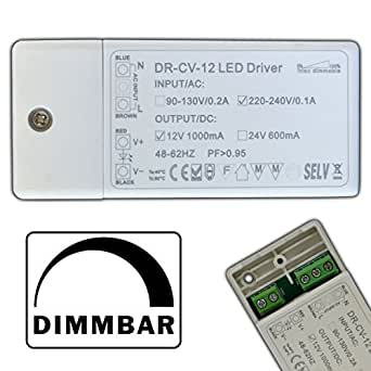 dimmbarer led trafo 12v dc 1 12 watt netzteil dimmbar treiber transformator f r dimmer g4 mr16. Black Bedroom Furniture Sets. Home Design Ideas