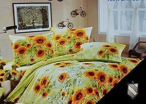 200x220 gelb grün creme mehrfarbig Bettbezüge Bettwäschegarnituren mit einem Spannbettlaken 100% Baumwolle Seersucker ein schönes Muster Sonnenblumen pflegeleicht yellow green cream 2