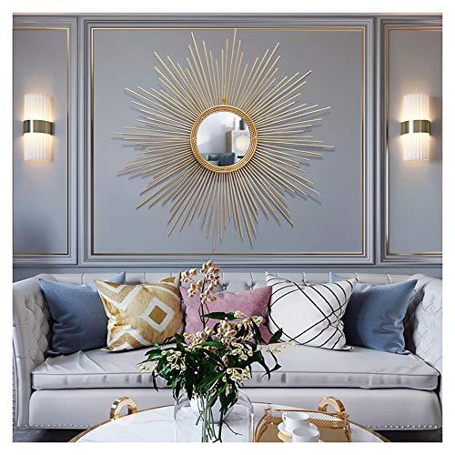 XM-MIRROR Sunburst Wandspiegel, große runde Metall Starburst dekorative Wandspiegel, Esszimmer, Wohnzimmer, Flur Veranda dekorative hängenden Spiegel,Gold,70