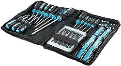 AGT Schraubenzieher Set: 100-teiliges Schraubendreher-Set in praktischer Tasche (Schraubenzieher Tasche)