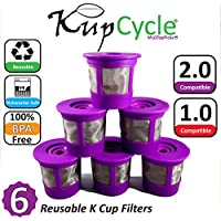 KupCycle Reusable K Cup Filters for Keurig 2.0, Backwards Compatible with Keurig 1.0, Cuisinart, Breville, and Mr. Coffee Single Cup Coffee and Tea Brewing Machines. by MLGTopPicks