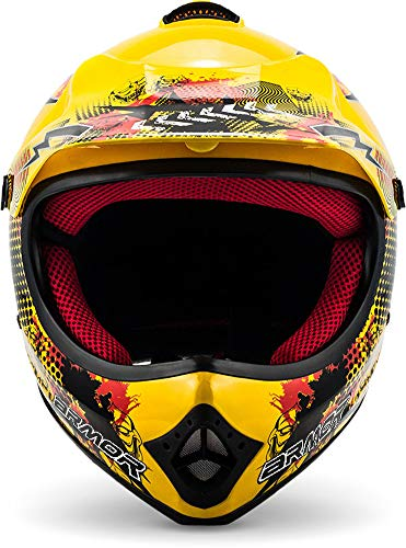 "ARMOR · AKC-49 ""Yellow"" (Gelb) · Kinder-Cross Helm · Enduro Kinder Off-Road Sport Motorrad Moto-Cross · DOT certified · Click-n-Secure™ Clip · Tragetasche · S (53-54cm) - 2"