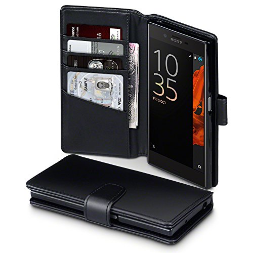 Terrapin, Kompatibel mit Sony Xperia XZ / XZs Hülle, [ECHT LEDER] Brieftasche Case Tasche mit Kartenfächer und Bargeld - Schwarz EINWEG