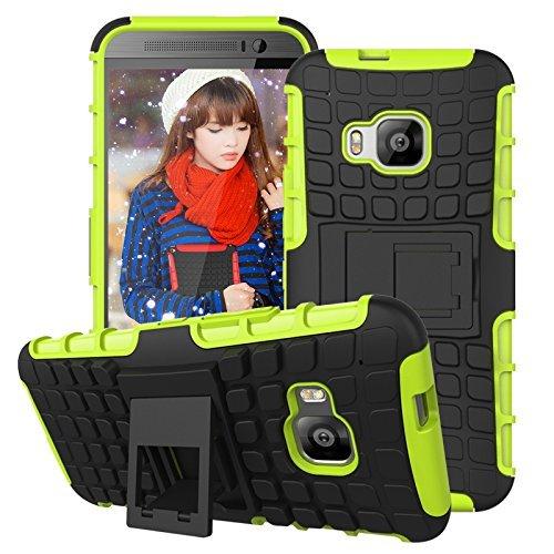 Preisvergleich Produktbild Cozyswan Cool Design Reifen Muster Handytasche Case Cover Hüllen Shockproof Outdoor Schutzhülle für HTC One M9 - Grün