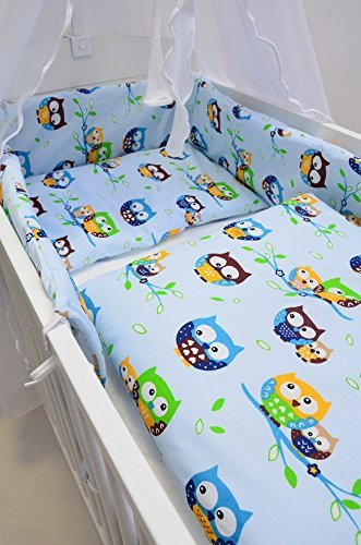 Best For Kids Komplettset Babybett Patrick 70x140 cm mit Matratze 10 cm und Bettwäsche inkl. Decke und Kissen - 6 Design (Eulen blau)