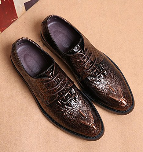 Anlarach Hommes Casual Business Robe De Mariée Pointe Toe Alligator Chaussures En Cuir Marron