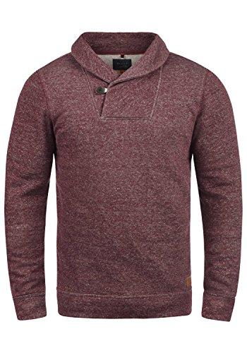 Blend Janosch Herren Sweatshirt Pullover Pulli Mit Schalkragen, Größe:L, Farbe:Wine Red (73812)
