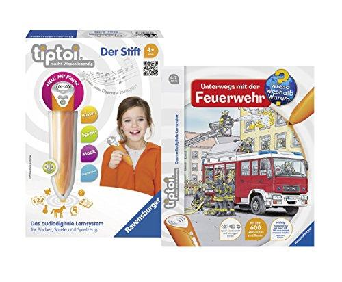 Preisvergleich Produktbild Ravensburger ® tiptoi Kinder Set - 00700 tiptoi Stift mit Player und Buch Wieso Weshalb Warum Unterwegs mit der Feuerwehr im Set