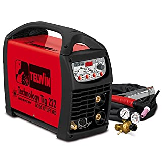 TELWIN Technology Tig 222 AC/DC HF/Lift VRD Pulse TIG Welding Machine with Inverter Technology 230 V Set Includes Hose Package, Ground Cable, Pressure Regulator and Adaptor